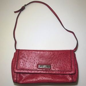 Genuine Relic Red Faux Ostrich Shoulder Hand Bag